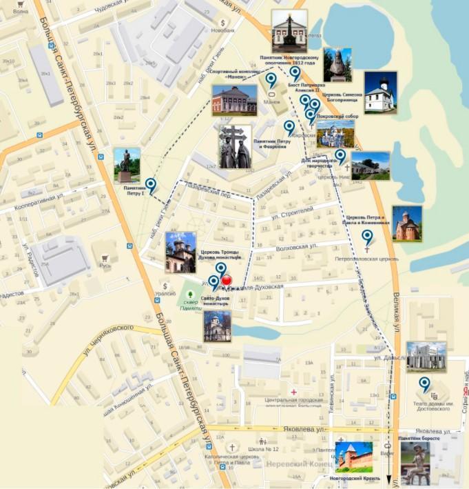 Фото карты монастырей Новгорода