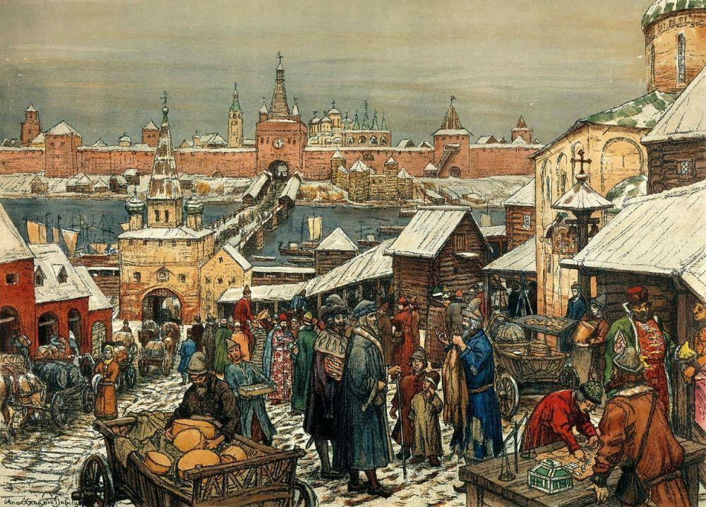 Репродукция картины - вид с торговой стороны Новгорода на кремль